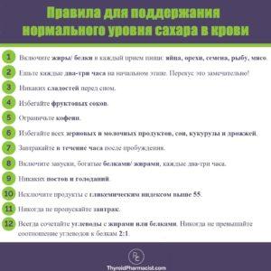 Правила для поддержания нормального уровня сахара в крови
