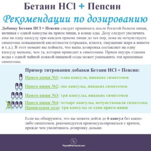 бетаин HCL + пепсин пониженная кислотность